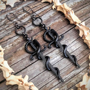 Snake - Sword - Earrings - Black - Goth - Jewelry - Witchy - Oddities -  Gothic - Gift - Spooky - Dagger - Jewelry - Occult