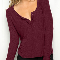 Burgundy Long Sleeve Knit Tee