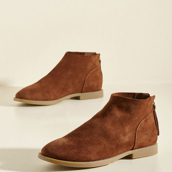 Elemental Everyday Suede Bootie in Cinnamon | Mod Retro Vintage Boots | ModCloth.com