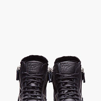Giuseppe Zanotti Black Leather Shearling-trimmed Lindos Sneakers for women | SSENSE