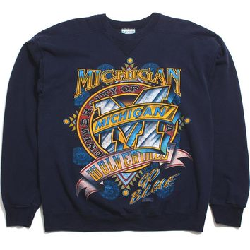 University Of Michigan Stained Glass Bar M Discus Crewneck Sweatshirt Navy (Large)