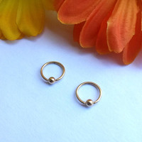 Gold 18g small hoop captive bead ring body jewelry ear eyebrow rook nose smiley helix lip nipple