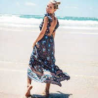 Bohemian Backless Long Floral Dress