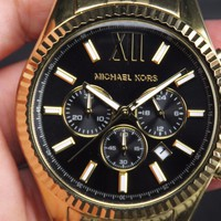 NEW MICHAEL KORS MK-8286 24-HR HAND CHRONO GOLD PLATED DATE QUARTZ MENS WATCH
