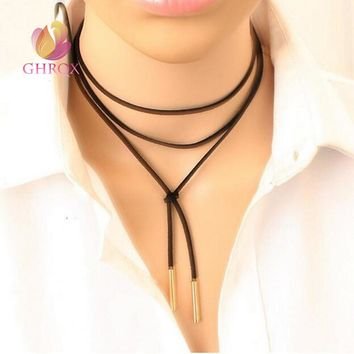 Hot Black Leather Necklace  Long Rope  adjustment necklace Collar Necklace for women