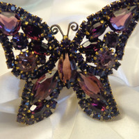 Vintage Unsigned WEISS by D&E JULIANA Rhinestone Butterfly Brooch Pin Book Piece