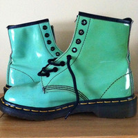 Mint Green Patent Leather Dr. Marten Air Wair Boots