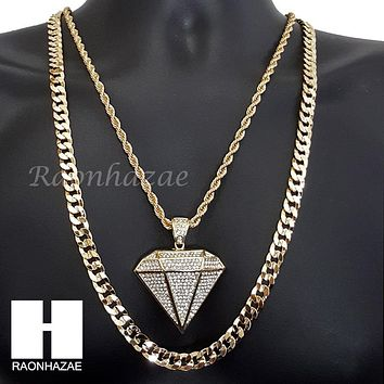 "ICED OUT DIAMOND SHAPE ROPE CHAIN DIAMOND CUT 30"" CUBAN CHAIN NECKLACE SET G10"