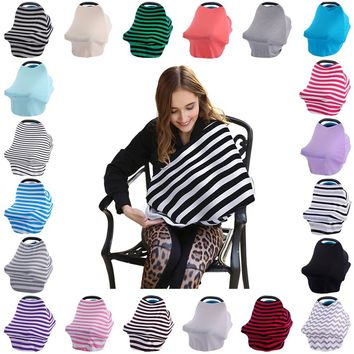 13Colour Baby Car Seat Cover Canopy Nursing Cover Multi-Use Stretchy Infinity Scarf Breastfeeding Shopping Cart Cover High Chair