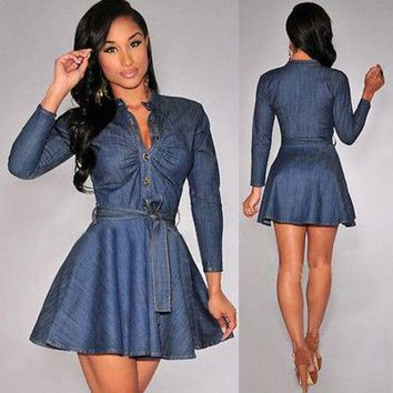 Long sleeve mini denim dress