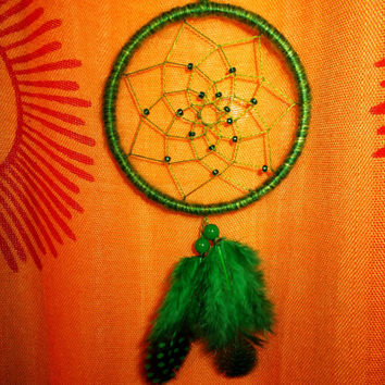 3 inch Green Dreamcatcher - Wall Hanging Home Decoration - Car Rear View Mirror Decor - Hippie Boho Dream Catcher - Car Accessory