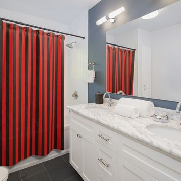 Red And Black Stripe Shower Curtains 71x74 Inches