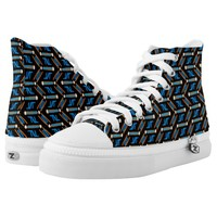 Tribal Style Turquoise Chevron Pattern High-Top Sneakers