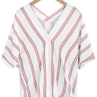 Pink V Neck Vertical Striped Shirt