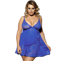 See through blue lace chemise high quality erotic lingerie comfortable dress + g-string women babydoll plus size sleepwear underwear