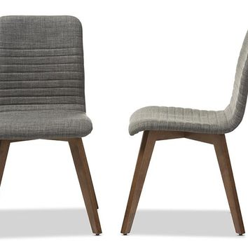Baxton Studio Sugar Mid-century Retro Modern Scandinavian Style Dark Grey Fabric Upholstered Walnut Wood Finishing Dining Chair Set of 2