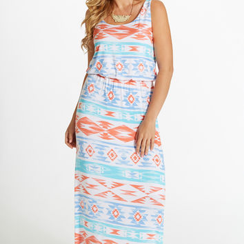 Blue Coral Tribal Print Maxi Dress