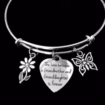 The Love between a Grandmother and Granddaughter is Forever Adjustable Bracelet Expandable Charm Bracelet Bangle Gift Daisy Butterfly