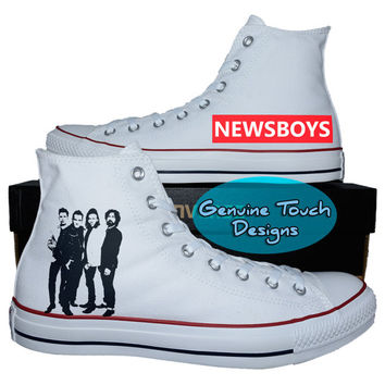 Custom Converse, Newsboys, Newsboys shoes, Band shoes, Custom Chucks, painted shoes, personalized converse hi tops