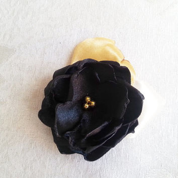 Boutonniere buttonhole Black satin gold flower, Corsage hand made silk flower