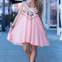 Fun In Floral Dress,Peach
