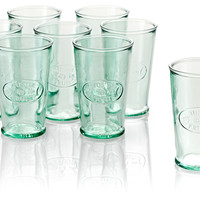 Tall, Drinking Glasses, Recycled Glass - Set of 8