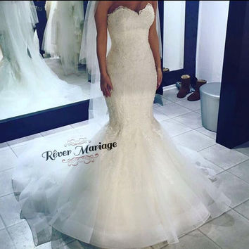 Hot Sale Mermaid Lace Wedding Dress 2016 New Model French Lace With Beading Wedding Dress
