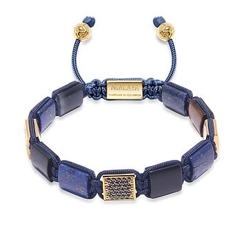 Women's CZ Flatbead Bracelet with Blue Lapis and Matte Onyx