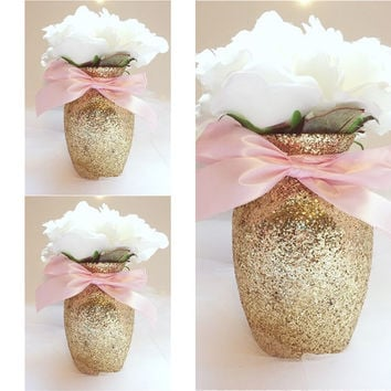 3 Gold U0026 Pink Vases, Gold And Pink Baby Shower, Baby Shower Centerpieces,