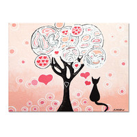 Baby Girl Nursery Wall Art, Tree Cat Art Original Acrylic Painting, Pale Pink Kids Art Decor 9x12x1.5