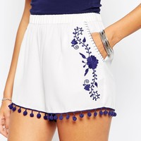 ASOS Woven Shorts with Embroidery and Pom Poms