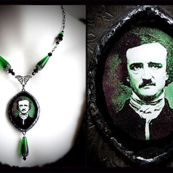 Edgar Allan Poe necklace, Victorian mourning jewelry, absinthe green, Halloween, gothic, horror, poet, macabre, vintage, Poe pendant
