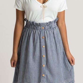Tessa Navy Gingham Skirt