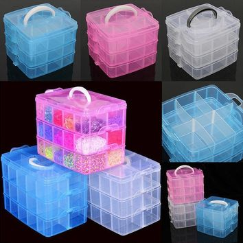 Hot Clear Plastic Jewelry Bead Storage Box Container Organizer Case Craft Tools