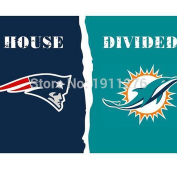 3x5 ft  New England Patriots VS Miami Dolphins  house divided flag  150x90cm 2 metal grommets