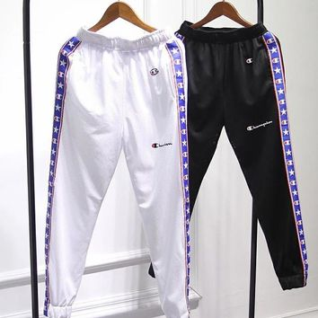 Champion vintage stitching string webbing mesh breathable sports casual trousers men and women