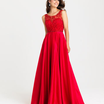 Madison James 16-307 Modest Sequin Satin Prom Dress Evening Gown
