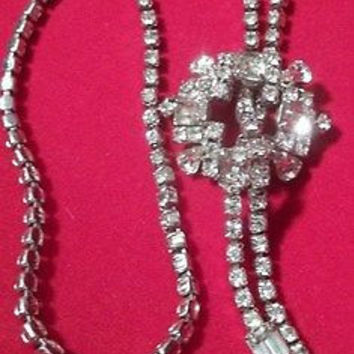 Vintage Rhinestone Lariat Necklace Rhodium High End Unique & WELL MADE