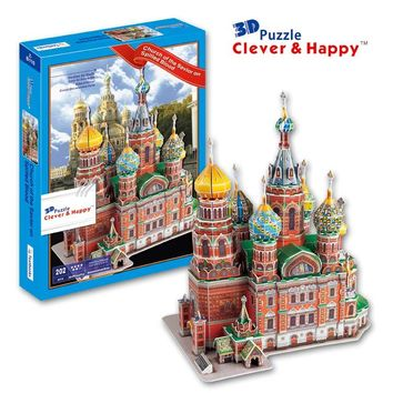 new clever&happy land 3d puzzle model Church of the Savior on Spilled Blood adult puzzle diy paper model educational toys paper