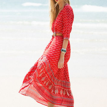 Gypsiana Maxi Dress - Red Bandana