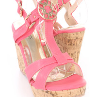 Hot Pink High Polish Hardware Cork Wedges Faux Leather