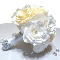 White and ivory alternative paper rose bridal bouquet,  Classic custom made artificial flower bouquet, Unique white and ivory throw bouquet