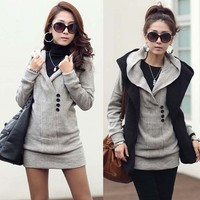 Casual Womens Long Top Knitting Sweater Free Style Buttons Hooded Solid Knitwear