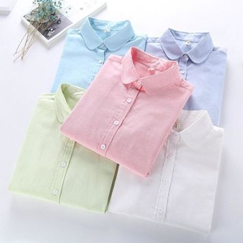 Women Blouse New Casual BRAND Long Sleeved Cotton Oxford White Shirt Woman Office Shirts Excellent Quality Blusas Lady