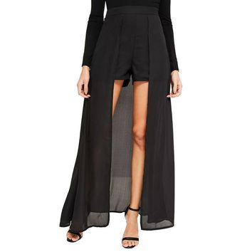 Women's Black Sheer Chiffon Patchwork Long Slit Sexy Party Club Wear Culotte Skirts Pant Skirt Divided Skirt