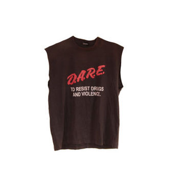 Vintage D.A.R.E. To Resist Drugs & Violence Grunge Tank Top Muscle Tee Size Large