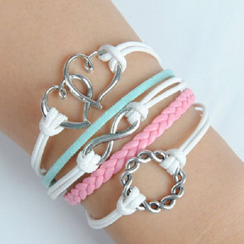 Layered Pink, White and Blue Infinity, Double Hearts & Wreath Ring Silver Charms 5 rows Multi-Layered Friendship Wrap Bracelet USA SELLER
