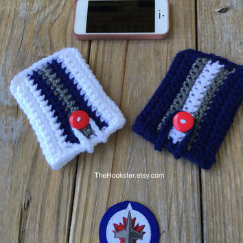 Crochet iPhone Galaxy Note Case with size options, Winnipeg Jets iPhone Sleeve, Jets NHL Home & Away Colors Phone Cover, Crochet Phone Case