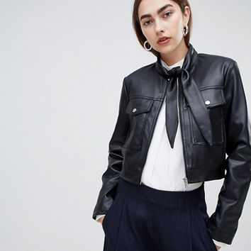 ASOS DESIGN Tie Neck Leather Look Jacket at asos.com