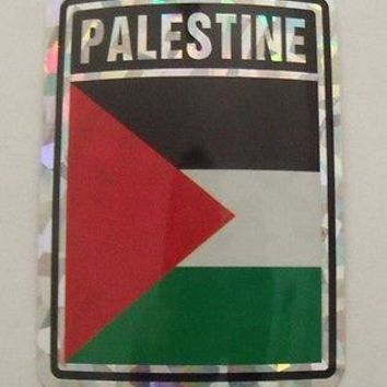 "Palestine Flag Reflective Sticker 3""x4"" Inches Adhesive Car Bumper Decal"